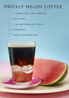 Kick back and enjoy the feeling of warm sunshine on your face as you sip from this refreshing Pickly Melon Coffee recipe from Nespresso. Draw out the fruity undertones in Cosi Grand Cru with the addition of watermelon syrup and lemonade. You'll love how satisfying this tasty summer coffee recipe can be.