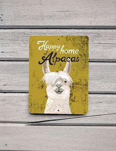 """Happy Home of Alpacas"" 9x12"" aluminum outdoor sign, made in the USA by Bainbridge Farm Goods."