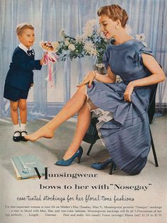 Munsingwear stockings 1954. I love everything about this ad... so sweet, little son in 'short pants' and his shoes & socks, could you imagine a boy wearing those today?! Mommy dressed to go shopping, so pretty.... And the sizes: Iris, Venus & Diana ...it's so '50s!