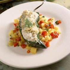 Crab-Stuffed Poblano Chiles With Mango Salsa - To make low carb use full fat ricotta cheese
