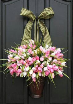 Spring bouquet. I have two holders that would work perfect for this. I think the single bow as the hangar is classic.