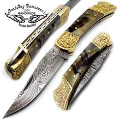 Beautifull Ram Horn with Double Bloster Scrimshaw Work 7.6'' Handmade Damascus Steel Folding Pocket Knife * This is an Amazon Affiliate link. Visit the image link more details.