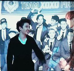 """EXO GIF """"KaiSoo moment <3..... then there's lay who pops out of nowhere lol"""""""