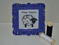 Sheep Happens  Completed Cross Stitch Art in by CatInLapStudio, $18.00