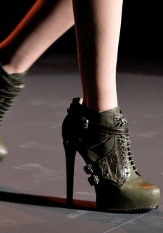 Olive green stilletto booties. Christian Dior. Fall 2011 Ready to Wear Collection.
