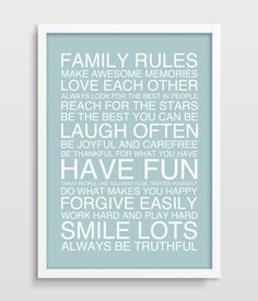 Family Rules Poster  Family Art Print  by TheWatermelonFactory