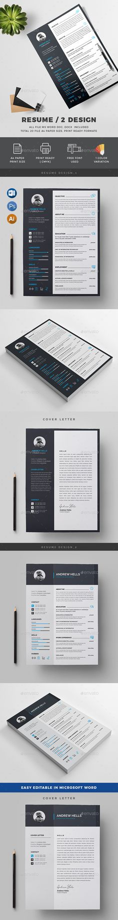 Resume Template - A4 Paper & US Letter Size - PSD, Vector EPS, AI Illustrator, DOCX and DOC