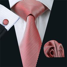 Gents Necktie Red Stripe 100% Silk Jacquard Tie Cuff links Set Business Wedding Party Ties For Men