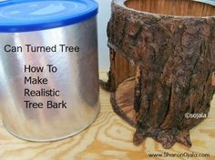 Can turned Fairy tree or Toad House Materials Needed: Empty can wax paper piece of burlap or craft felt Hot glue gun Tacky Glue Water Soft Paper (paper towels or a homemade type paper or use tissues if stronger paper isn't available) paint brushes acrylic craft paint (suggestions for color: cafe mocha, burnt sienna, golden brown, black)