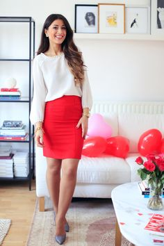 "Mimi Ikonn ""Valentine's day Lookbook"" – Club Monaco white blouse, red pencil skirt, Melissa pumps, Michael Kors watch, Luxy hair extensions in Ombre blonde 