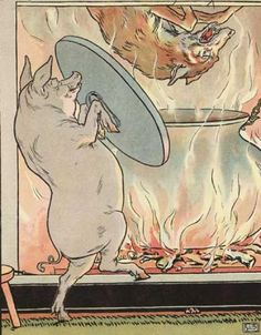 "Illustration by L. Leslie Brooke ""When the little pig saw what he was about, he hung on the pot full of water, and made up a blazing fire, and, just as the wolf was coming down, took off the cover, and in fell the wolf..."" (Hallett, Karasek 291)"