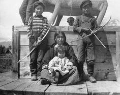 Gitxsan family at Kitwanga village, British Columbia - 1910