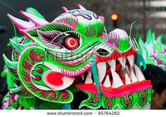 FEBRUARY 11: A head of a dragon costume during the Chinese New Year ...