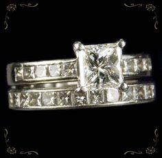 Exceptional Princess Cut Diamond 900 Platinum Wedding Band Eternity Engagement Ring Set