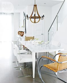 Dining room design: Custom marble-topped dining table and classic white Brno chairs {PHOTO: Michael Graydon} Dining Room Design, Dining Area, Dining Table, Dining Rooms, Interior Design Inspiration, Home Decor Inspiration, Design Ideas, Exotic Homes, Wooden Chandelier
