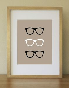 Nerd Eyeglasses in Colorful background. Bright Apple Green. Art Print. Home Decor. Home Office. 8 x 10. $17.00, via Etsy.