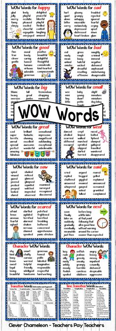 $ Other ways to say ... Said, Went, Scared, Big, Small, Sad, Happy, Saw, Next, Great, Good, Bad, Positive Character Words, Negative Character Words, Time Transition Words for Narratives and Transition Words for Information and Argument Texts. (16 page digital download)