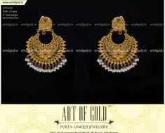 Bridal Chandbali Earrings with Pearl droppings & peacock studs. Jhumka Designs, Gold Earrings Designs, Gold Jewellery, Bridal Jewelry, Indian Jewelry, Unique Jewelry, Coimbatore, Girls Jewelry, Designer Earrings