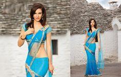 Blue and gold saree