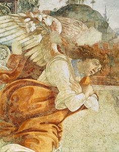 Sandro Botticelli - The Annunciation, detail of the Archangel Gabriel, from San Martino della Scala