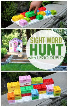 What a fun summer learning activity with Lego Duplo. Turn the blocks into sight words and match them up in this outdoor sight word hunt.