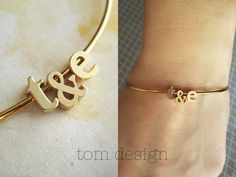 LOVE Tiny Gold Initial & Ampersand Bangle Bracelet by TomDesign Bling Bling, The Bling Ring, Zierlicher Ring, Looks Style, My Style, Jewelry Accessories, Fashion Accessories, Wedding Initials, Gold Bangle Bracelet
