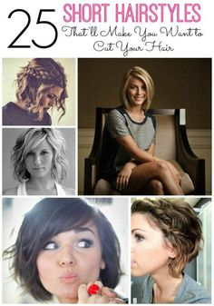 Are you thinking of cutting your hair? Well get ready to chop it because these 25 short hairstyles for women will make you want to cut your hair. Whether you have thick hair, thin hair, a round face or heart-shaped -- you'll find some hair ideas to try. There's one picture on here I showed my hairstylist and she was able to recreate it exactly. Click through to see all 25 hair dos.