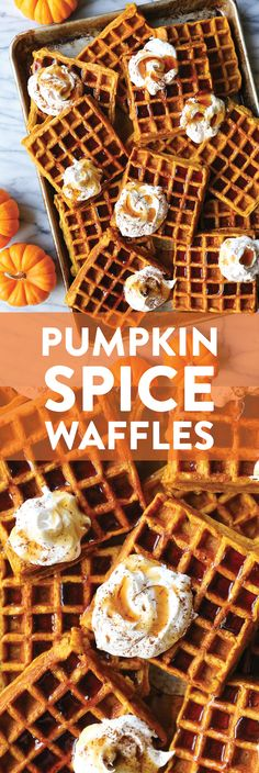 Pumpkin Spice Waffle Recipe - The best breakfast! Crispy golden on the outside, fluffy on the inside. You'll seriously want to make this all year long! Pumpkin Spice Waffles, Pumpkin Bread, Waffle Iron Recipes, Pancake Recipes, Brunch Recipes, Damn Delicious Recipes, Best Breakfast, Breakfast Pizza, Breakfast Bowls