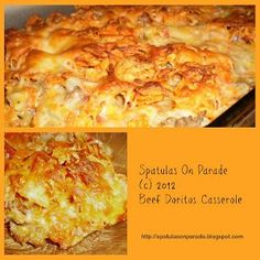 Ground Beef Doritos Casserole~ Hubby would love this, but it doesn't look like it would love our bodies, does that disuade me from trying it? Nope! lol
