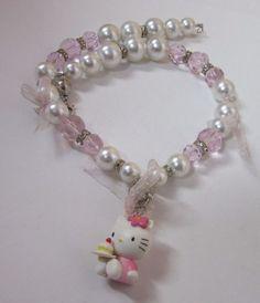 Hello Kitty, Beaded Bracelets, Vintage, Jewelry, Bead, Jewlery, Bijoux, Pearl Bracelets, Schmuck