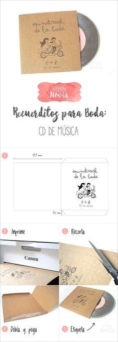 DIY Cd de música para los invitados como recuerdo de boda   Recuerditos para la Boda DIY   El Blog de una Novia   #boda #regalos #invitados: