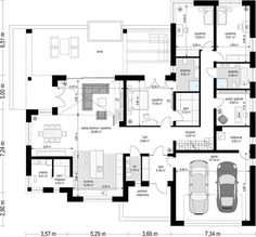 Projekt domu Willa Parterowa 172,05 m² - koszt budowy - EXTRADOM House Layout Plans, Dream House Plans, House Layouts, House Floor Plans, Modern Bungalow House Design, House Construction Plan, Architectural Floor Plans, Village House Design, House Design Pictures