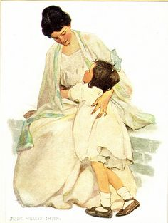 Home is in My Mother's Eyes by Jessie Willcox Smith , originally uploaded by confections . One of my favorites by Jessie Willcox Smi. Vintage Pictures, Vintage Images, Vintage Art, American Illustration, Children's Book Illustration, Girl Illustrations, Jessie Willcox Smith, Scripture Pictures, Beatrix Potter