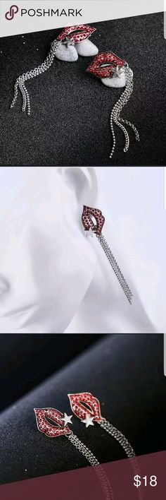 Betsey Johnson Red Lips Long Tassel Earrings Brand New with tags....betsey Johnson Rhinestone Charm Red Lips Long Tassel Earrings....  Size 3.34 x 0.70  NEW!!! Betsey Johnson Jewelry Necklaces
