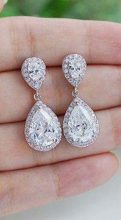 Luxury Halo Style Cubic Zirconia Bridal Earrings from EarringsNation