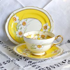 Would be perfect at a spring tea.  Paragon Art Deco Trio Yellow Jonquil Pattern Hand by Wicksteads