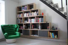 Reol i egefinér - Joe Colombo Elda Chair #indretning #interior #furniture #design #snedkeri #handmade #bookshelves #reol #opbevaring #oak #eg #joecolombo #elda #karstenk #rum4 www.rum4.dk