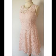 "Pretty lace Pre-owned , All rose lace and lining dress in soft pink. Side zipper.brand new. ""Ask for the length "" Feminine,lacy dress is big this season. Junior size. Dresses"