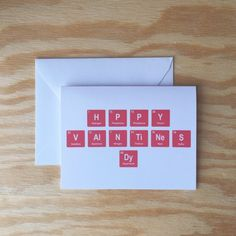 f43b52358 Happy Valentines Day greeting card, periodic table, love, geeky, valentines  day, red