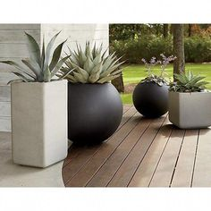 Sphere Small Light Grey Planter + Reviews | Crate and Barrel #Paisajismo Large Outdoor Planters, Tall Planters, Square Planters, White Planters, Modern Planters, Outdoor Plants, Cheap Planters, Outdoor Spaces, Concrete Planters