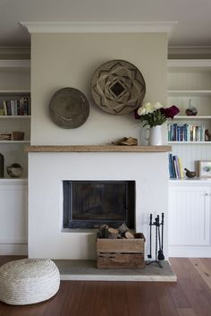 white fireplace with wood mantle - white fireplace . white fireplace with wood mantle . Stucco Fireplace, Simple Fireplace, White Fireplace, Fireplace Remodel, Fireplace Surrounds, Fireplace Design, Off Center Fireplace, Minimalist Fireplace, Fireplace Makeovers