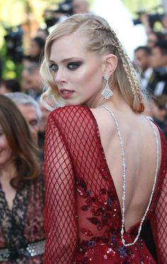 20 Best Celebrity Beauty Looks at Cannes |  Model and artist Tanya Dyagileva | Cool half braided, half hollywood glam hairstyle