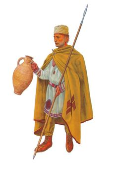 This is possibly a member of the Roman Auxilia Palatina unit, 4th century AD. This reconstruction based on the Via Latina catacomb paintings, Rome. Reconstruction and artwork by maestro Graham Sumner.