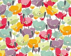 Makower Meadow Poppy Fabric by Beth Studley - 100% Cotton