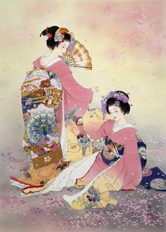Love the geisha, very pretty japanese art. Japanese Prints, Japanese Kimono, Art Geisha, Asian Artwork, Art Chinois, Art Asiatique, Art Japonais, Japanese Painting, Japan Art