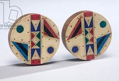 South Africa | Ear plugs from the Zulu people; wood, vinyl and nails | ca. late 20th century || Collection of the Lowe Art Museum, University of Miami History Images, Art History, African Masks, African Art, Wood Vinyl, Late 20th Century, Zulu, African Fabric, Tribal Art