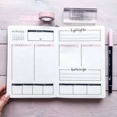 bujo spread with tasks and goals, highlights of the week, learnings, calendar Bullet Journal Titles, Bullet Journal Aesthetic, Bullet Journal Notebook, Bullet Journal Spread, Bullet Journal Inspiration, Journal Ideas, Bullet Journel, Instagram Design, Bujo