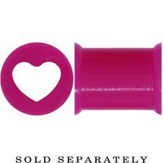 0 Gauge Purple Heart Silicone Flexible Tunnel | Body Candy Body Jewelry #bodycandy #plugs #gauges