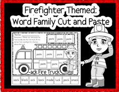 Word family cut and paste - firefighter themed