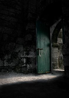 Dark green castle door...